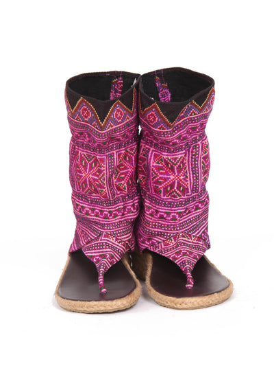 Vintage Hmong Tribal Print Wedge Bootie Sandal |  Purple geometric