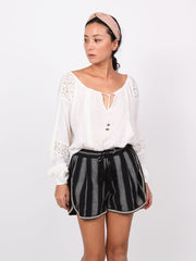 Kaia Embroidery striped shorts