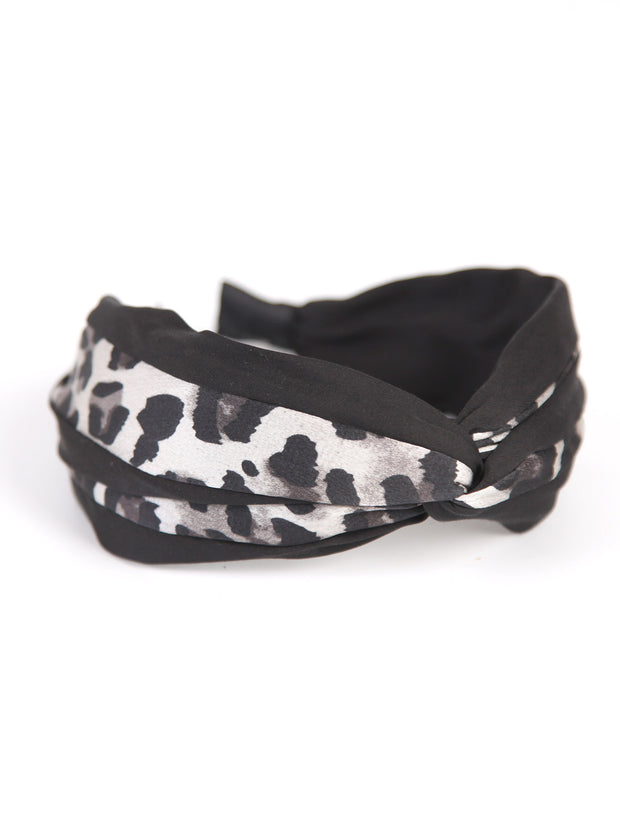Twisted headband | Leopard satin