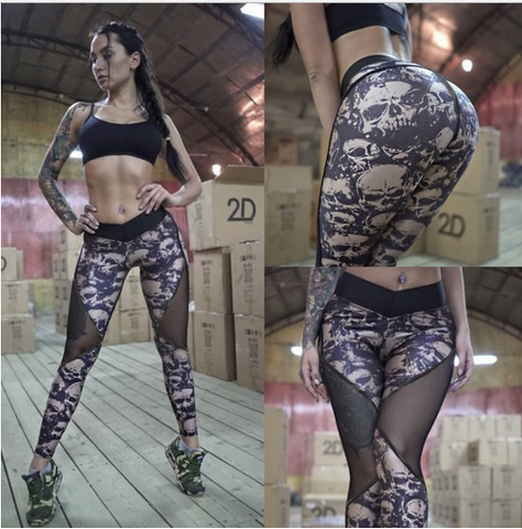 Mesh Skull Fitness Leggings