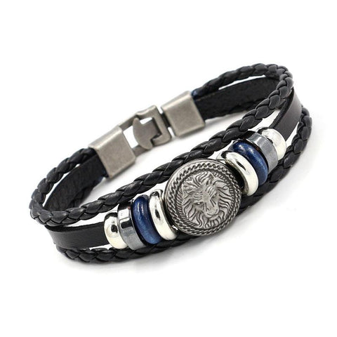Lion Charm Leather Bracelet