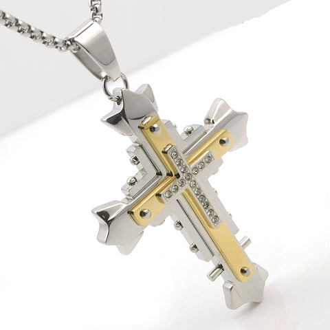 Stainless Steel Multi-Layer Cross Pendants