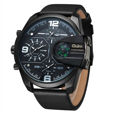 Oulm Big Size Quartz Wrist Watches with Leather Straps