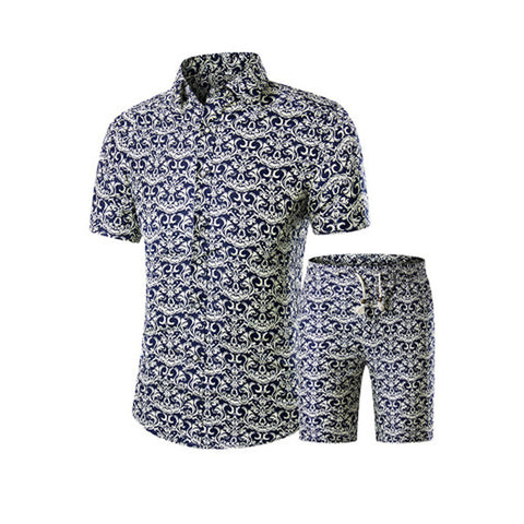 Two Piece Sets of Trendy Printed T-shirt  & Shorts