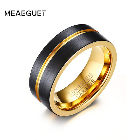 Tungsten Carbide Men's Ring with Gold Color Grooved Center - 8mm