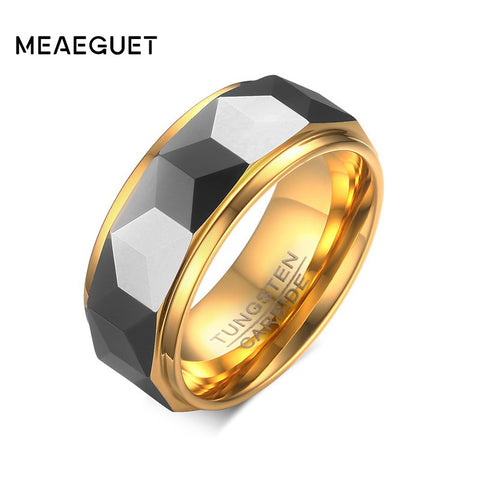 Faceted Tungsten Carbide Wedding Ring - 8mm
