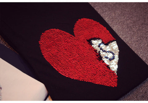 Reversible Two-toned Sequin Heart T-Shirt