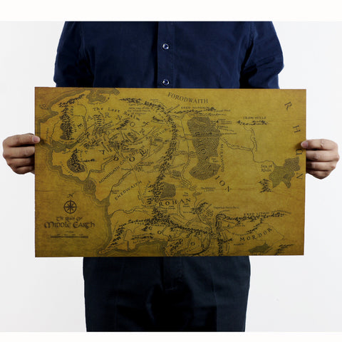 The Lord of the Rings MIDDLE EARTH MAP Vintage Kraft Paper Movie Poster