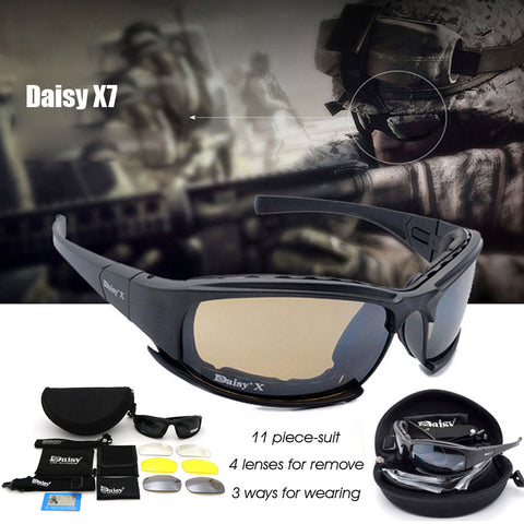 Daisy X7 Military  Sunglasses - 4 Lens Hunting Shooting Airsoft Eyewear
