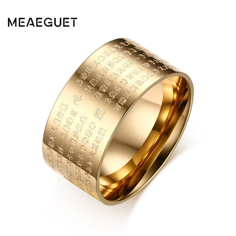 Stainless Steel Buddhist Scriptures Prayer Ring