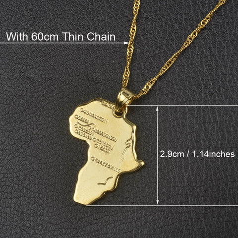 Africa Map Pendant Necklace (Nine Options)