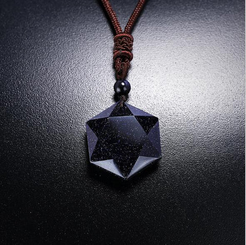 Night Sky Star Pendant with Leather Chain