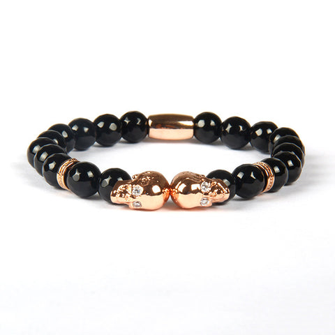 Double Skull Natural Onyx Breaded Bracelet
