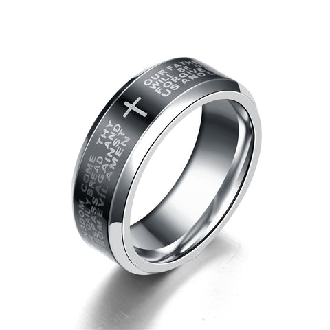 Serenity Bible Prayer Stainless Steel Ring