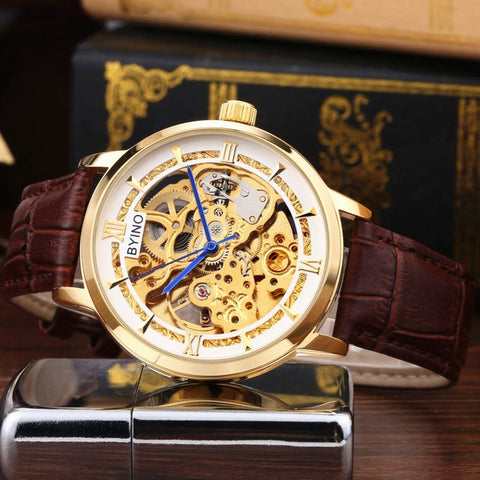 2018 Skeleton Mechanical Watch Automatic Men Classic Black Gold