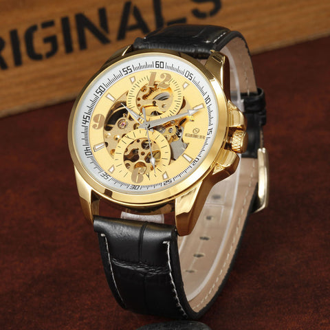 GOER L Leather Strap Men's Automatic Mechanical Skeleton Wrist Watches