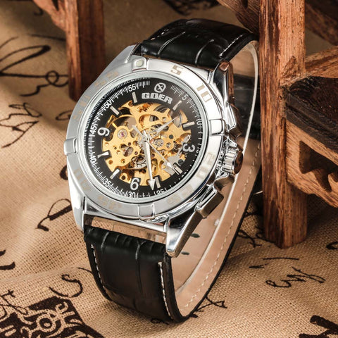 GOER  Watches Leather Strap Automatic Mechanical