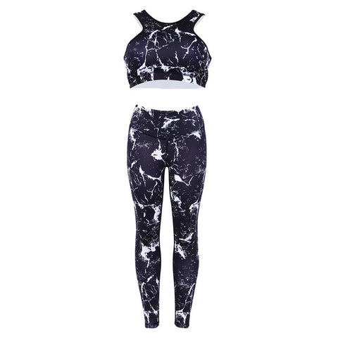 Flash Printing Leggings & Crop top Bra Sportswear Set