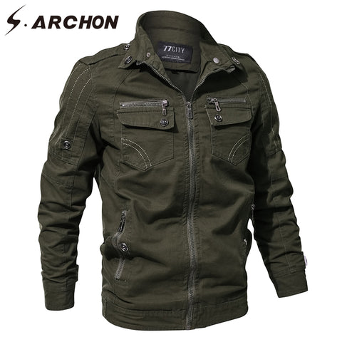 S.ARCHON Spring Autumn Military Pilot Jackets Men