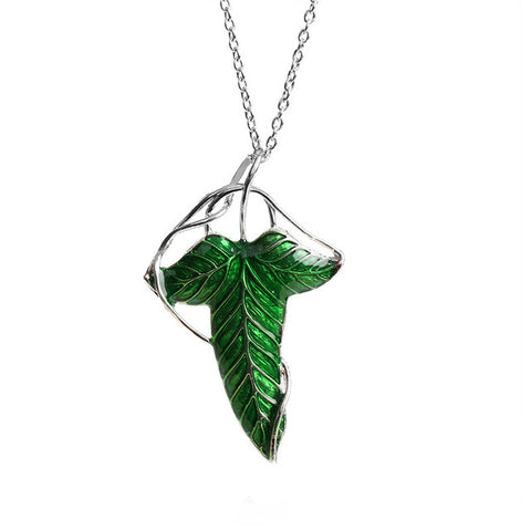 The Hobbit Vintage Elf Green Leaf  Pendant Pin Lord Of The Rings