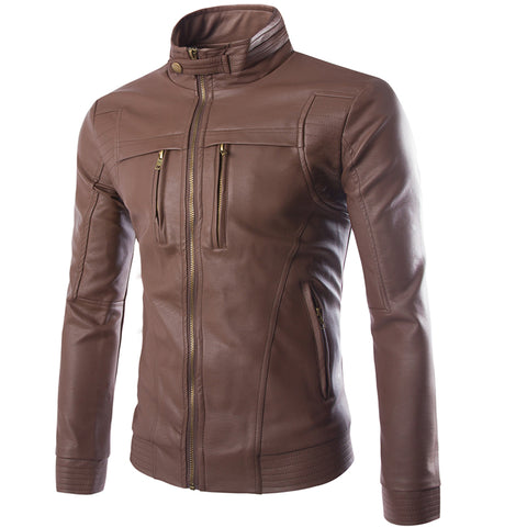 Lather- Men's PU Leather Jackets Coats Motorcycle