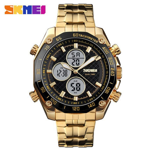 Tezos -  Golden Stainless Steel Dual Time Watch