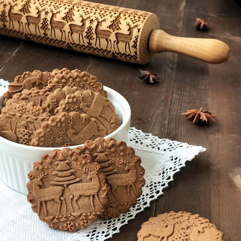 Christmas Embossing Rolling Pin Baking Cookies