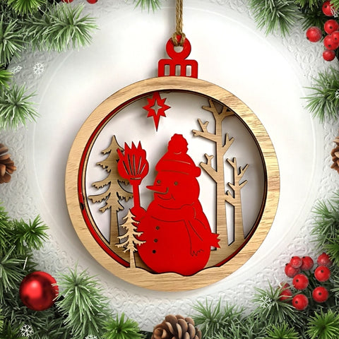 3D Xmas Pendant Hanging Christmas Wood