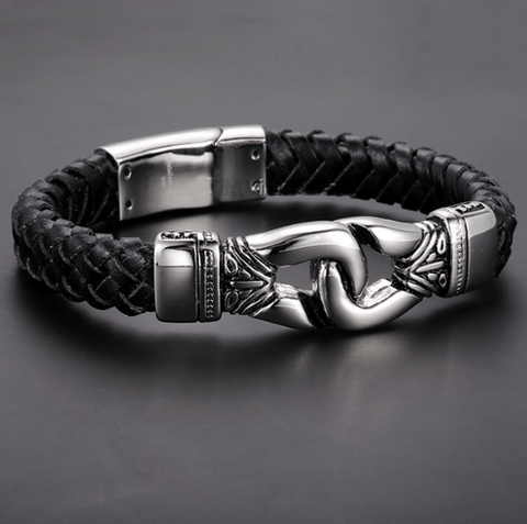 Special Stainless Steel Clasp Woven Leather Bracelets