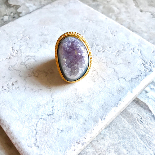 Purple Druzy Ring