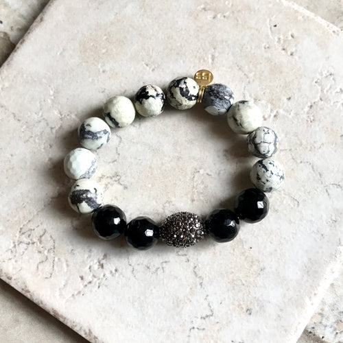 Faceted White Turquoise and Black Onyx Stone