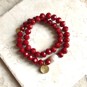 Faceted Cranberry Double Wrap/Choker