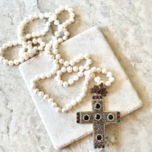 Burgundy Large Cross with Pearls