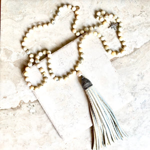 Faceted Creme Opal Pave Tassel