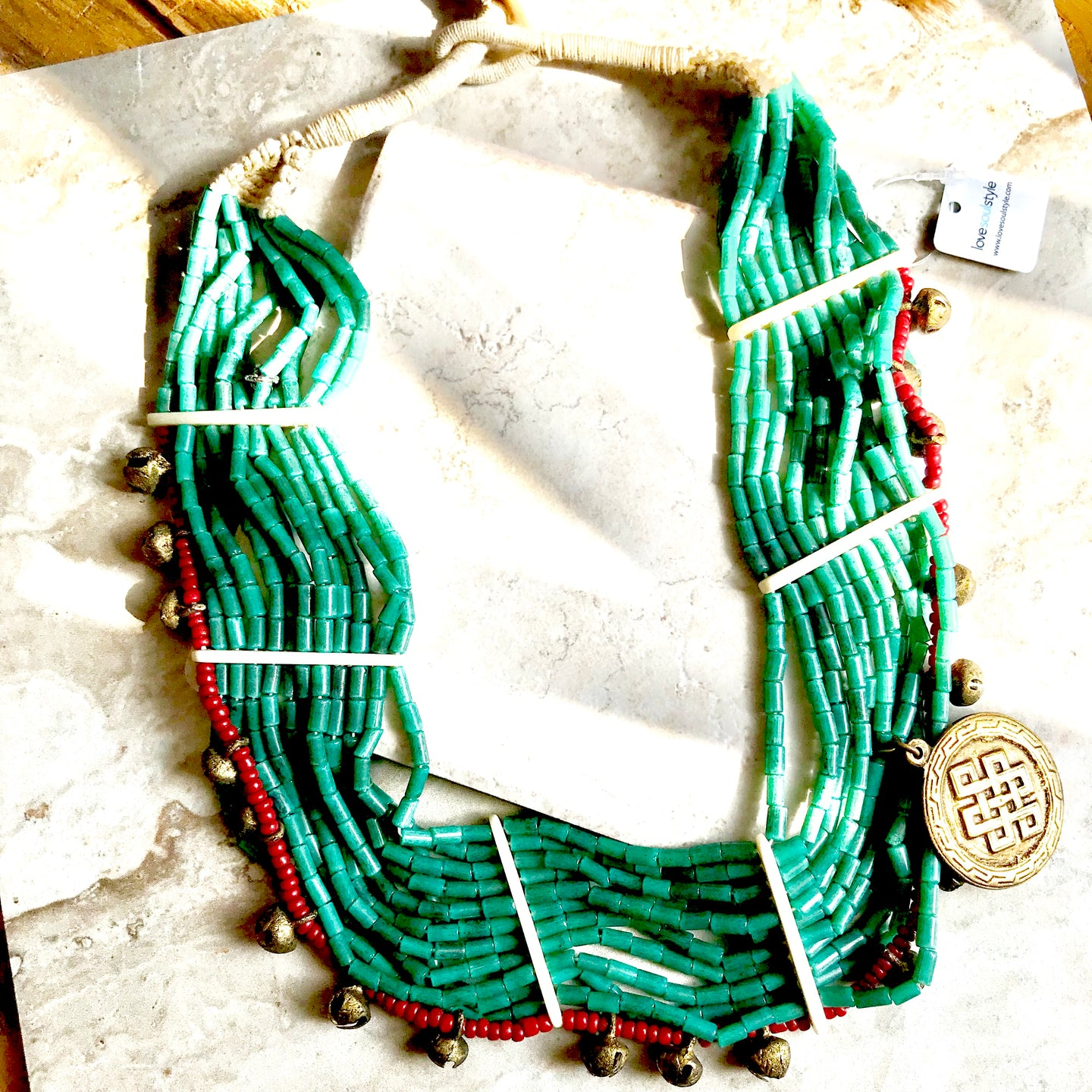 Green and Red Beaded Tibet
