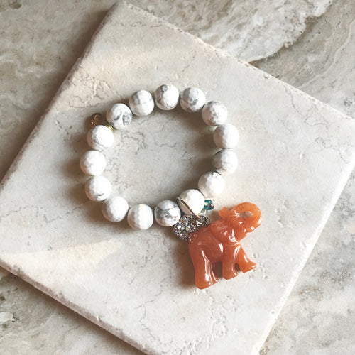 Faceted White Howlite Elephant