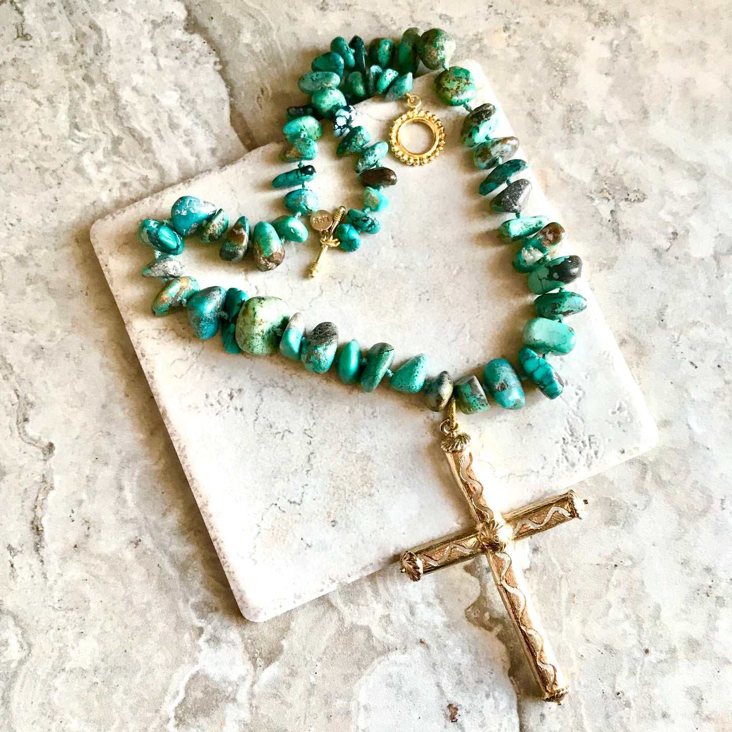 Turquoise Chunks with Vintage Cross