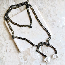 Gunmetal and Herkimer Diamond Lariat