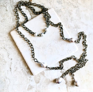 Gunmetal Pearl and Pave Triple Lariat