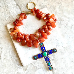 Carnelian with Vintage Cross