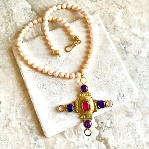 Turkish Cross with Pink Hue Pearls