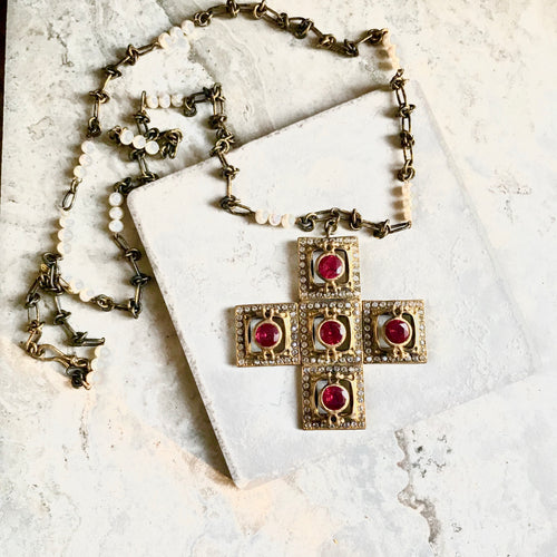 Turkish Cross with Ruby Quartz Twist Knot Chain