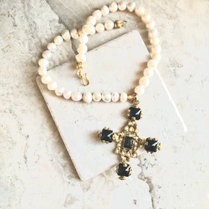 Black Onyx Turkish Cross Pearls