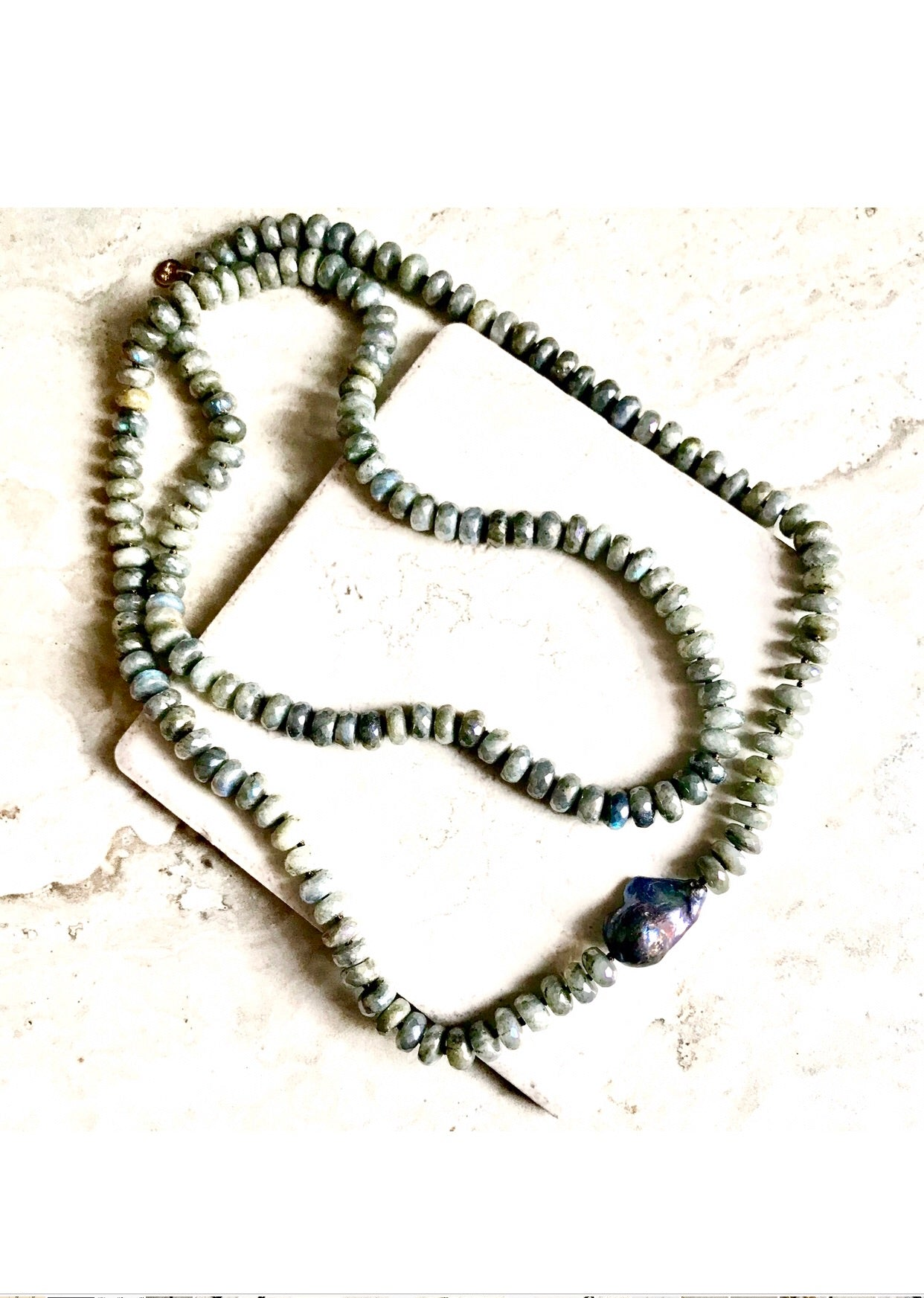 Faceted Knotted Labradorite Peacock Pearl