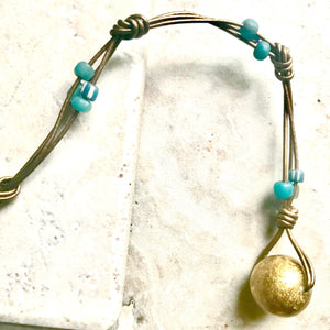 Metallic leather Ethiopian bead lariat