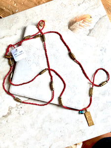 Red Beaded and Brass Tibetan