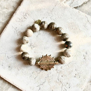Faceted Silver Leaf Jasper Baule