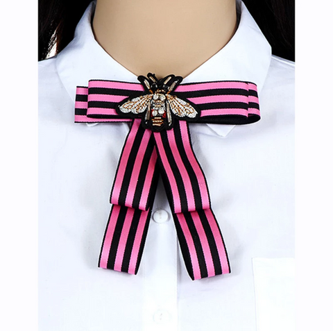 Pink & Black Bow pin