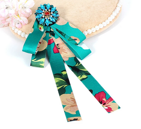 Teal Floral Bow pin