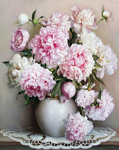 Pink European Flowers - PicArtSo™ Paint-by-Number Kit